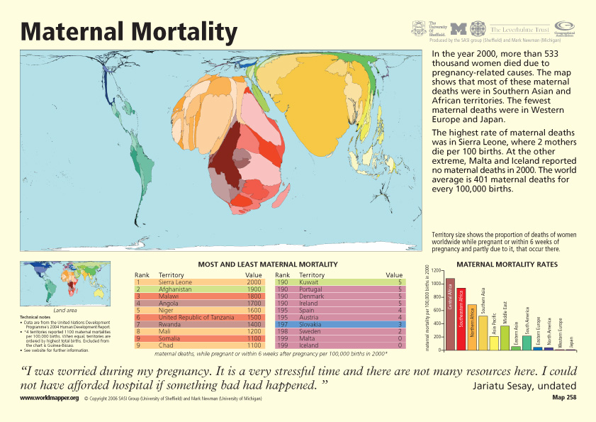 maternal mortality on worldmapper