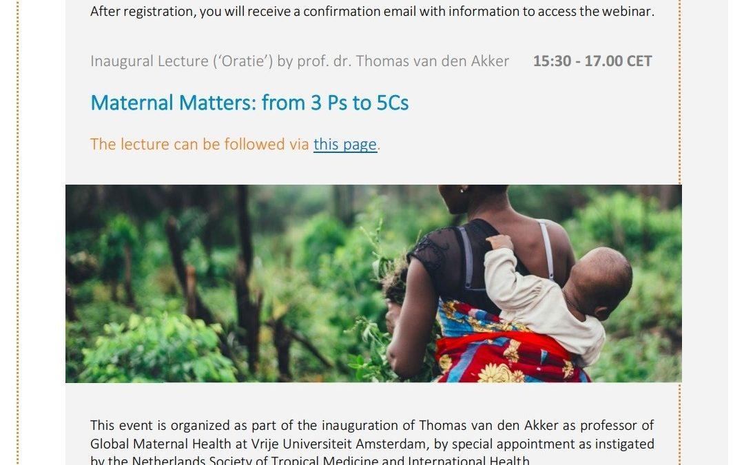 Maternal Matters, Symposium and Inaugural lecture Thomas van den Akker